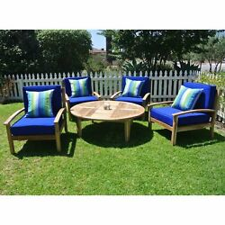 Patio Deep Seating Set 5pc Garden Furniture Chat Chairs Chat Table Wood Bistro