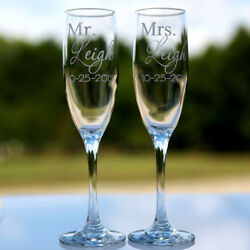 2 Etched Engraved Personalized Mr. and Mrs. Champagne Flute Glasses Wedding Gift $17.99