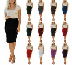 High Waist Stretchy Bodycon Cotton Fitted Midi Knee Length Office Pencil Skirt $12.95
