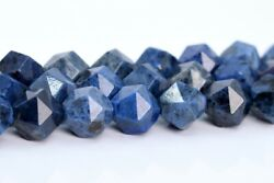 10MM Blue Dumortierite Star Cut Faceted Grade AAA Natural Loose Beads 15