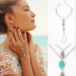 1Pcs Silver Multilayer Hand Chain Turquoise Hollow Carved Finger Chain Bracelet