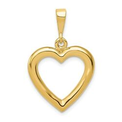 14K Yellow Or White Gold Solid Polished Heart Pendant