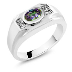1.73 Ct Oval Green Mystic Topaz White Diamond 925 Sterling Silver Men's Ring
