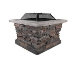 NEW OUTDOOR FAUX STONE FIRE PIT TABLE RUST-RESISTANT WOOD CHARCOAL HIGH QUALITY