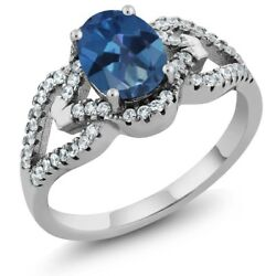 1.62 Ct Oval Royal Blue Mystic Topaz 925 Sterling Silver Ring