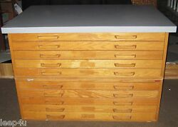Mid-Century Flat File Blueprint Cabinet STACOR CUSTOM TOP      LOCAL PICKUP ONLY