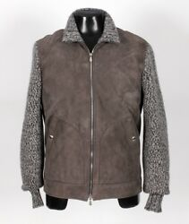 $5675 NWT BRUNELLO CUCINELLI SUEDE LEATHER FUR LINED  THICK CASHMERE Jacket - M