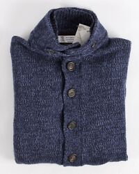 $2495 NWT - BRUNELLO CUCINELLI 100% CASHMERE Thick Cardigan Sweater - Blue 50 M