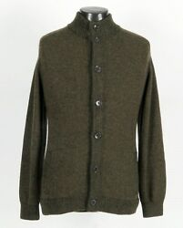 $2545 NWT - LORO PIANA 100% BABY CASHMERE Button Bomber Sweater - Green - 48 S M