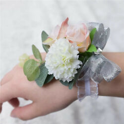 Wrist Corsage Bracelet Bridesmaid Sisters Hand Flower For Wedding Party Prom  $26.95