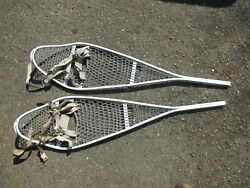 Vtg US Military Cable Snow Shoes with Bindings 46quot; long $75.99