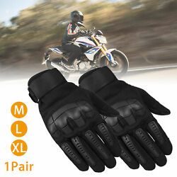 Leather Touch Screen Rubber Hard Knuckle Full Finger Gloves Motorcycle Motorbike $17.57