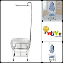 Top Bar Rolling Chrome Commercial Laundry Butler Storage Rack Metal Tube Wires