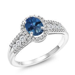 0.98 Ct Oval Blue Mystic Topaz 925 Sterling Silver Ring