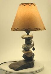 Stone Night stand Rustic Lamp 128 fits most rustic decors $215.00