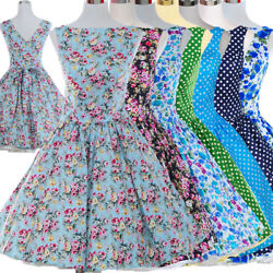 Women Vintage Dress 50S 60S Swing Pinup Retro Casual Cotton Party Ball Dresses