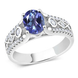 1.86 Ct Oval Blue Mystic Topaz 925 Sterling Silver Ring