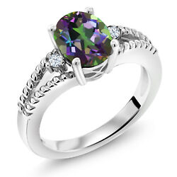 1.87 Ct Oval Green Mystic Topaz 925 Sterling Silver Ring