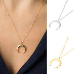 Fashion GoldSilver Plated Moon Pendant Necklace Women Charm Jewelry Accessory
