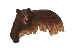 Brown Bear Wall Art Cabin Rustic Decor Hand Wood Carving $79.95