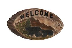 Black Bear Wood Carving Welcome Sign Cabin Rustic Decor $19.95