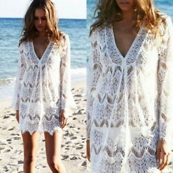 Beach Cover up Sexy Lace Swimsuit Beachwear Bikini Crochet Mini Dress $11.50