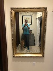 """Large antique period gilt carved Wood Frame With New Mirror 37.5x56"""" Circa 1800 $895.00"""