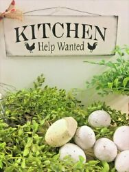 Kitchen Help Wanted rooster theme wooden sign black white chalkboard style