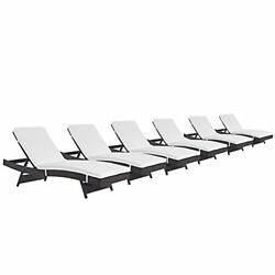 Modway Convene Wicker Rattan Outdoor Patio Chaise Lounge Chairs in Espresso Whit
