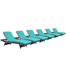 Modway Convene Wicker Rattan Outdoor Patio Chaise Lounge Chairs in Espresso Turq