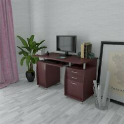 Wood Computer Desk PC Laptop Study Table Workstation Home Office Furniture $184.90
