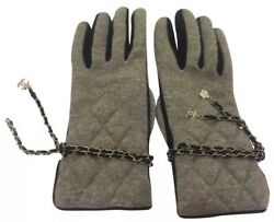 New CHANEL AUTH Quilted Grey Charms Cashmere Black Lambskin Camellia Gloves