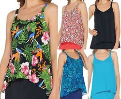 Denim & Co. Beach Hi-Low Tankini Swimsuit TOP ONLY~A303155 $7.99