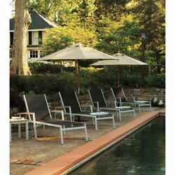 Oxford Garden Travira Black Sling 8 Piece Chaise Lounge Set with Natural Tekwood