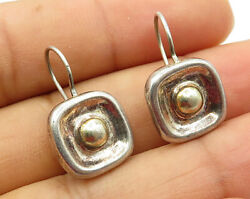 925 Sterling Silver - Vintage Concave Square With Sphere Inlay Earrings - E3118