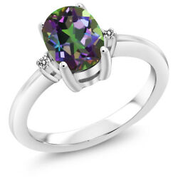 1.63 Ct Oval Green Mystic Topaz Diamond 925 Sterling Silver 3 Stone Ring