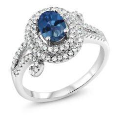 2.20 Ct Oval Royal Blue Mystic Topaz 925 Sterling Silver Ring
