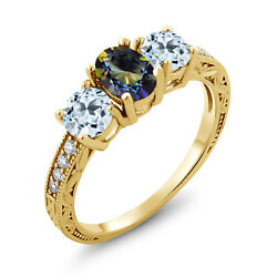2.24 Ct Oval Blue Mystic Topaz Sky Blue Topaz 18K Yellow Gold Plated Silver Ring