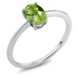 0.85 Ct Oval Checkerboard Green Peridot 10K White Gold Ring