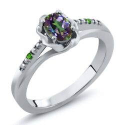 0.51 Ct Oval Green Mystic Topaz and Simulated Tsavorite 925 Sterling Silver Ring