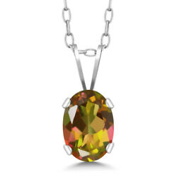 0.80 Ct Oval Mango Mystic Topaz 925 Sterling Silver Pendant With Chain