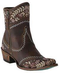 Lane Women's Landrun Gardens Floral Embroidered Western Boot - Snip Toe Black