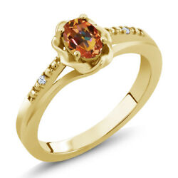 0.52 Ct Oval Ecstasy Mystic Topaz 18K Yellow Gold Plated Silver Ring