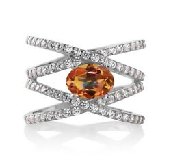 2.23 Ct Oval Ecstasy Mystic Topaz 925 Sterling Silver Criss Cross Ring