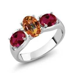 1.80 Ct Oval Ecstasy Mystic Topaz Red Created Ruby 925 Sterling Silver Ring