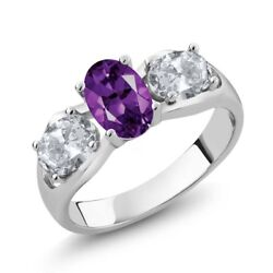 1.75 Ct Oval Purple Amethyst White Topaz 925 Sterling Silver Ring