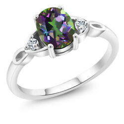 1.66 Ct Oval Green Mystic Topaz White Topaz 925 Sterling Silver Ring
