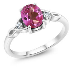 1.38 Ct Oval Pink Mystic Topaz White Topaz 925 Sterling Silver Ring