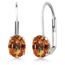 1.90 Ct Oval Ecstasy Mystic Topaz 925 Sterling Silver Leverback earrings