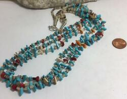 Gorgeous multi-strands pen shell heishi turquoisecoral necklace(t318-w1.5)